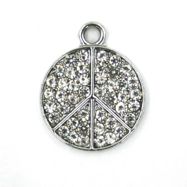 17mm x 21mm Peace symbol charm set with crystal